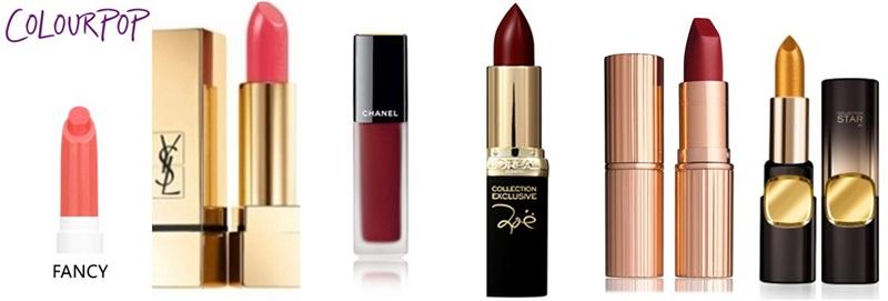 Từ trái qua: Colourpop Lippie Stix (SFancy) - Charlotte Tilburry Matte Revolution Lipstick (Sexy Sienna) - Chanel Rouge Allure Ink (154 Experimente) - L'oreal (406 Zoe's Red) - Charlotte Tilbury (Love Liberty) - L'oreal Paris Color Rich 24k Gold (G101)