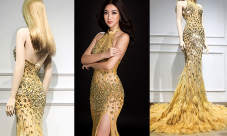 Cận cảnh trang phục dạ hội lộng lẫy mà Mỹ Linh sẽ diện trong đêm chung kết Miss World