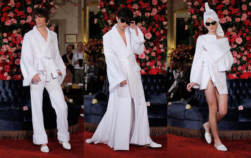 Thiết kế áo choàng tắm này nằm trong BST Xuân Hè 2018 của thương hiệu Palomo Spain dành cho ... nam giới.