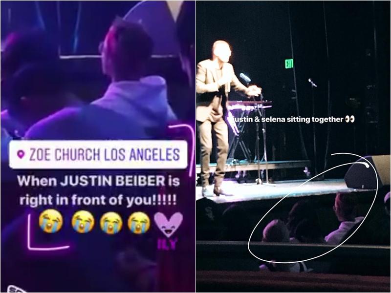 """Một đoạn video ngắn xuất hiện trên mạng cho thấy giọng ca """"Sorry"""" ngồi hàng ghế đầu trong nhà thờ và Selena ngồi bên cạnh."""