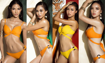 Hoàng Thùy, Mâu Thủy và các thí sinh Hoa hậu Hoàn Vũ khoe hình bikini nóng bỏng trước thềm chung kết