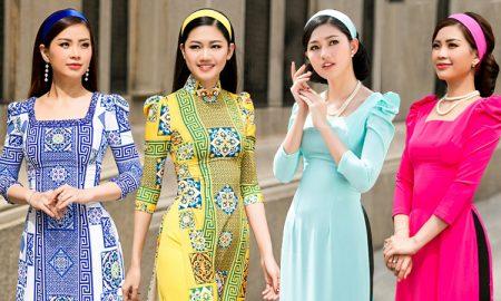 Á hậu Thanh Tú, Diễm Trang khoe dáng yêu kiều trong các thiết kế áo dài cách tân