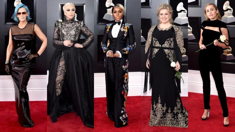 """Thảm đỏ Grammy 2018 """"lên tiếng"""" với màu đen và hoa hồng trắng"""