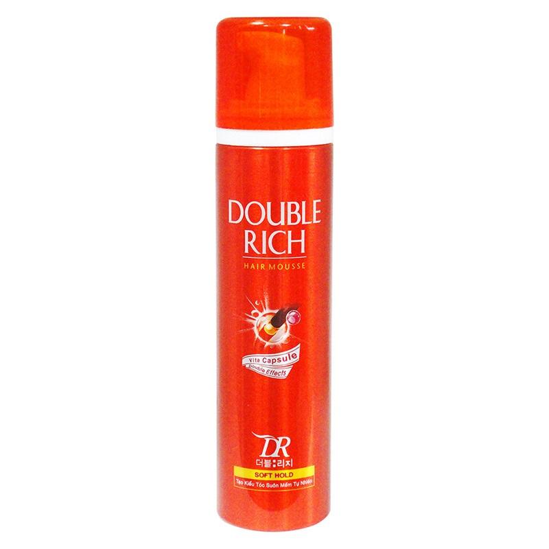 Double Rich - Hair Mousse: mousse giữ nếp, giúp tóc vào nếp và mềm mượt cả ngày. Giá: 62.000VND