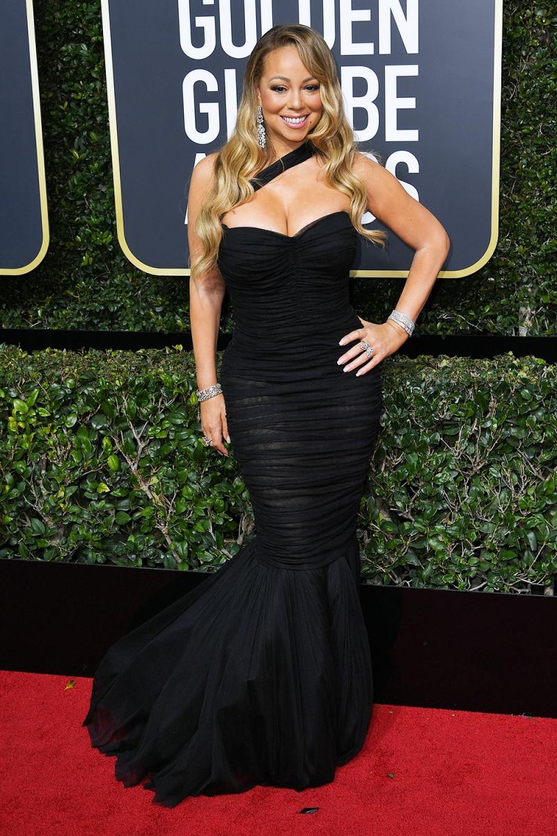 Mariah Carey tự tin tỏa sáng trên thảm đỏ Quả cầu Vàng 2018 trong thiết kế đầm đuôi cá vintage của Dolce & Gabbana.