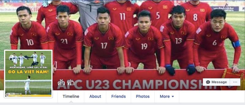 Nhân vật này là một người Thái Lan, anh đã đổi hình ảnh đại diện và ảnh nền trên trang Facebook của mình để thể hiện sự hâm mộ của mình tới các cầu thủ U23 Việt Nam.