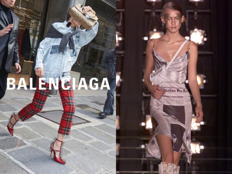 Họa tiết lấy cảm hứng từ những tờ nhật báo trên thiết kế áo sơ mi của Balenciaga (trái)cũng phần nào gợi đến bộ đầm gợi cảm mà NTK John Galliano từng thực hiện cho Dior trong BST Xuân Hè 2000.