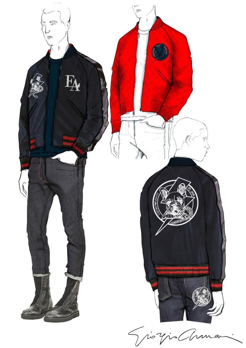Các thiết kế Emporio Armani cho nam giới bao gồm áo khoác, áo sơ mi, áo thun, giày, túi,...