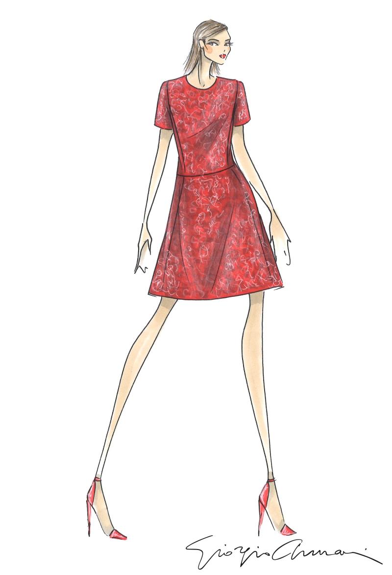 Thiết kế đầm màu đỏ trong BST đặc biệt của Emporio Armani cho dịp Tết Mậu Tuất.