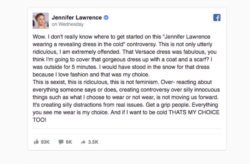 Thông điệp của Jennifer Lawrence đáp trả những bình luận ác ý và ngớ ngẩn.
