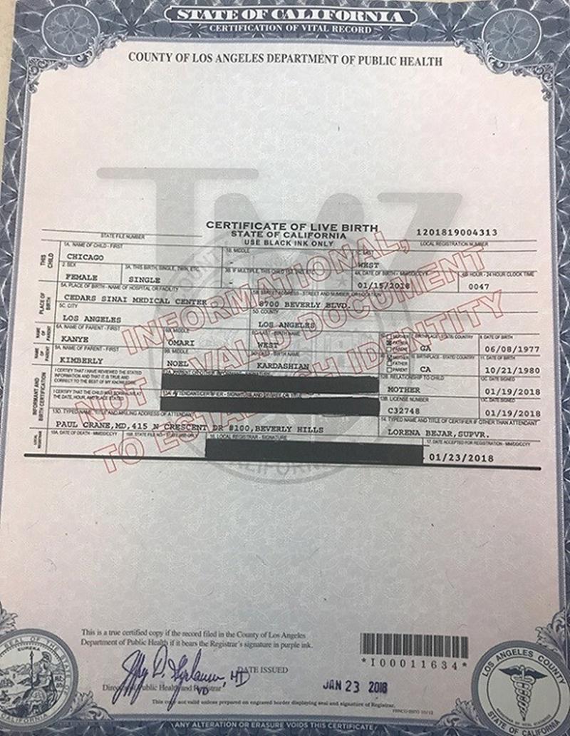 Hãng TMZ đã có được tờ giấy khai sinh này, trong đó ghi chính xác Chicago được hạ sinh lúc 12:47 sáng ngày 15/1, nặng 3.3kg