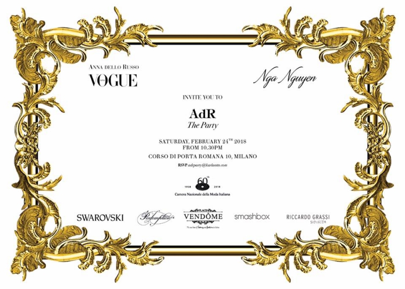 Giấy mời dự bữa tiệc sau sự kiện đấu giá và trình diễn thời trang của Anna Dello Russo có sự tham gia của Ng.a với vai trò đồng tổ chức.