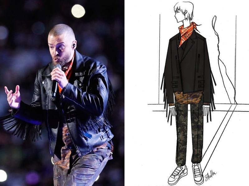 Justin Timberlake mặc thiết kế áo khoác giả da napa với những chi tiết tua rua cho phần đầu của màn trình diễn.