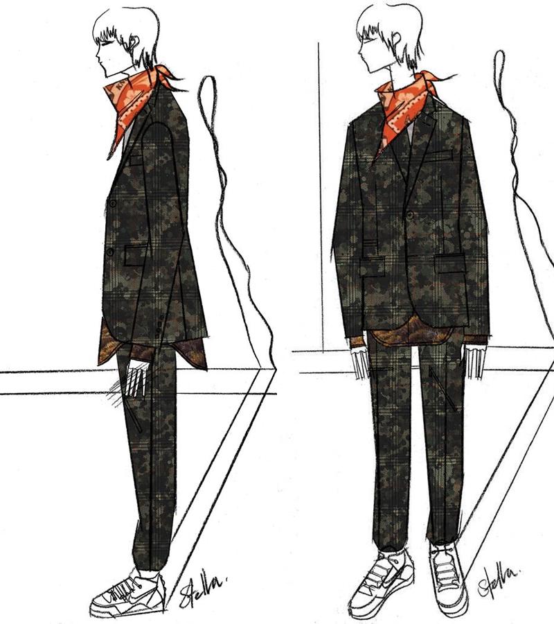 Bản vẽ phác thảo thiết kế của Stella McCartney cho Justin Timberlake