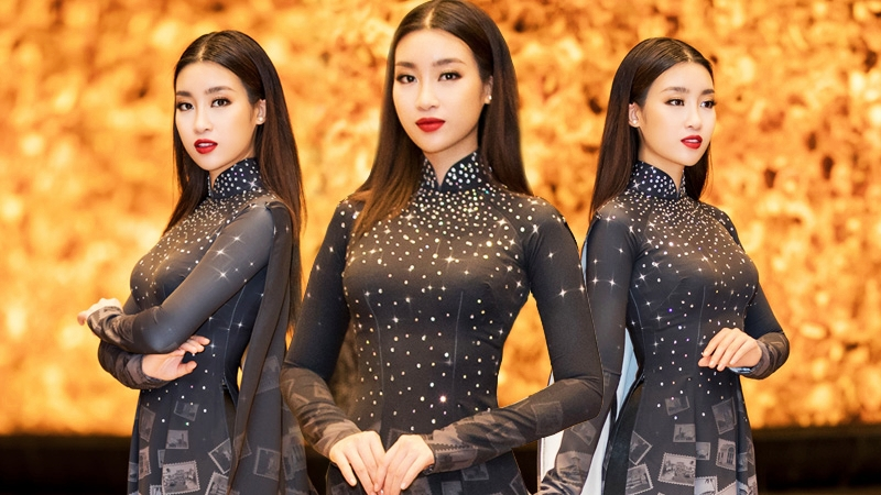Hoa hậu Đỗ Mỹ Linh nổi bật trên thảm đỏ với tà áo dài 10 mét