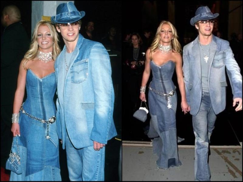 Mọi người dễ dàng liên tưởng đến hình ảnh của Britney Spears năm 2001 khi dự Lễ trao giải Âm nhạc Mỹ cùng bạn trai cũ Justin Timberlake.