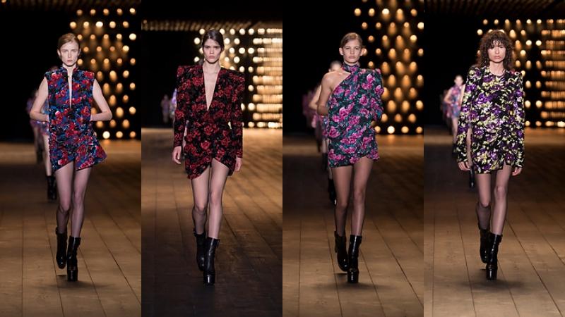 Kết thúc cho BST Thu Đông 2018-2019 của Saint Laurent là những bộ trang phục mang họa tiết hoa trên những phom dáng thể hiện tuyên ngôn nữ quyền mạnh mẽ trong thời hiện đại.