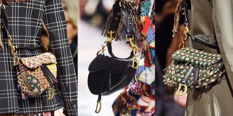 """Túi xách Saddle """"hồi sinh"""" trong BST Thu Đông 2018 của Dior với nhiều phiên bản khác nhau."""