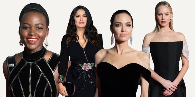 Lupita Nyong'o, Salma Hayek, Angelina Jolie, Jennifer Lawrence
