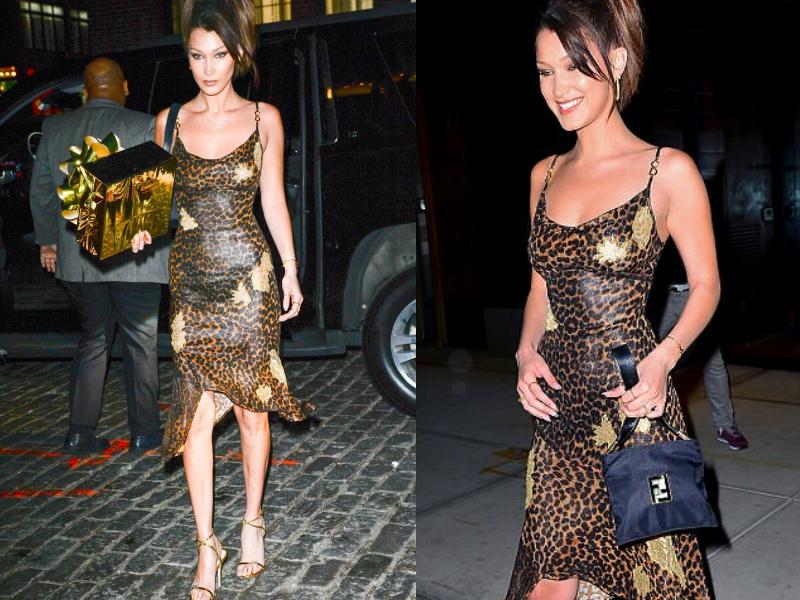 Bella Hadid mặc một thiết kế đầm của Christian Dior mang họa tiết da báo cùng túi xách của Fendi.