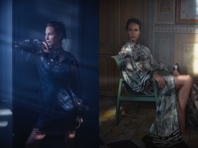 Siêu mẫu Christy Turlington trong các thiết kế thuộc BST H&M Conscious Exclusive 2018.
