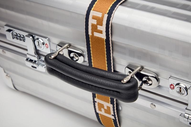 Logo của Fendi tạo nên điểm nhấn nổi bật trên nền chất liệu hợp kim nhôm của RIMOWA.