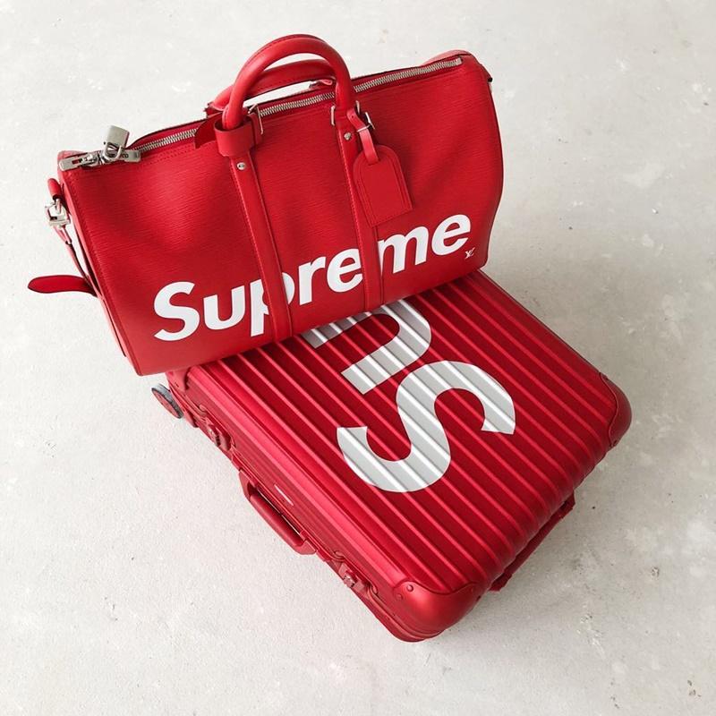 Va li Topas Multiwheel của RIMOWA và túi xách Keepall của Louis Vuitton hợp tác cùng Supreme.