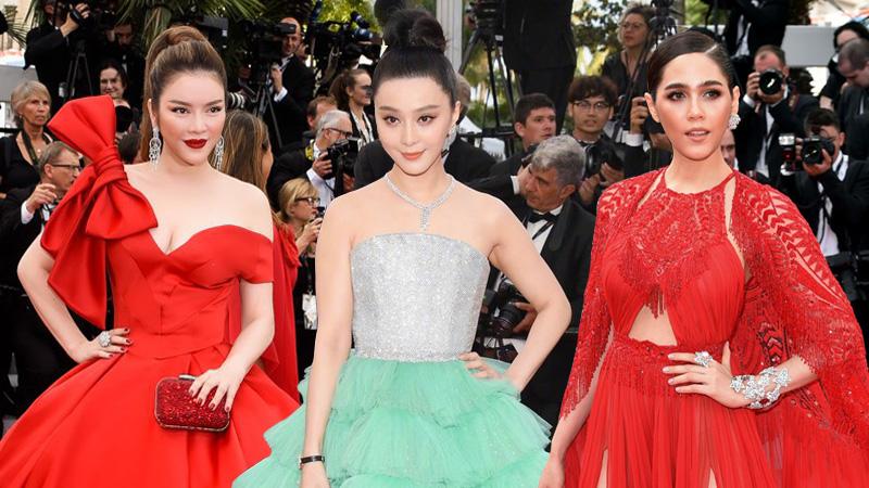 """""""Cuộc chiến thời trang"""" của Lý Nhã Kỳ, Phạm Băng Băng và dàn sao Châu Á trên thảm đỏ Cannes 2018"""