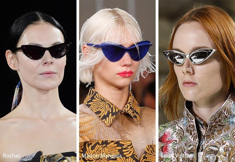 Xu hướng kính mắt mèo mang phong cách viễn tưởng trong các BST Xuân Hè 2018 của Rochas, Maison Margiela và Louis Vuitton (từ trái qua).