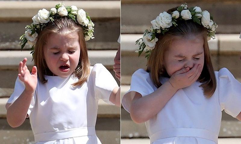 Trong lúc đứng trên bậc thềm trước cửa Nhà nguyện St. George cùng mẹ, Charđã lịch sự lấy tay che miệng và nhắm chặt mắt khi hắt hơi