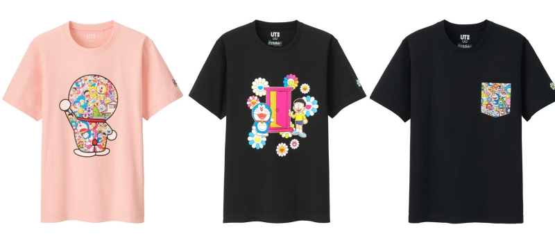 """Các mẫu áo thun mang họa tiết lấy cảm hứng từ tác phẩm nghệ thuật """"Anna koto iina dekitara iina"""" của nghệ sĩ Takashi Murakami."""