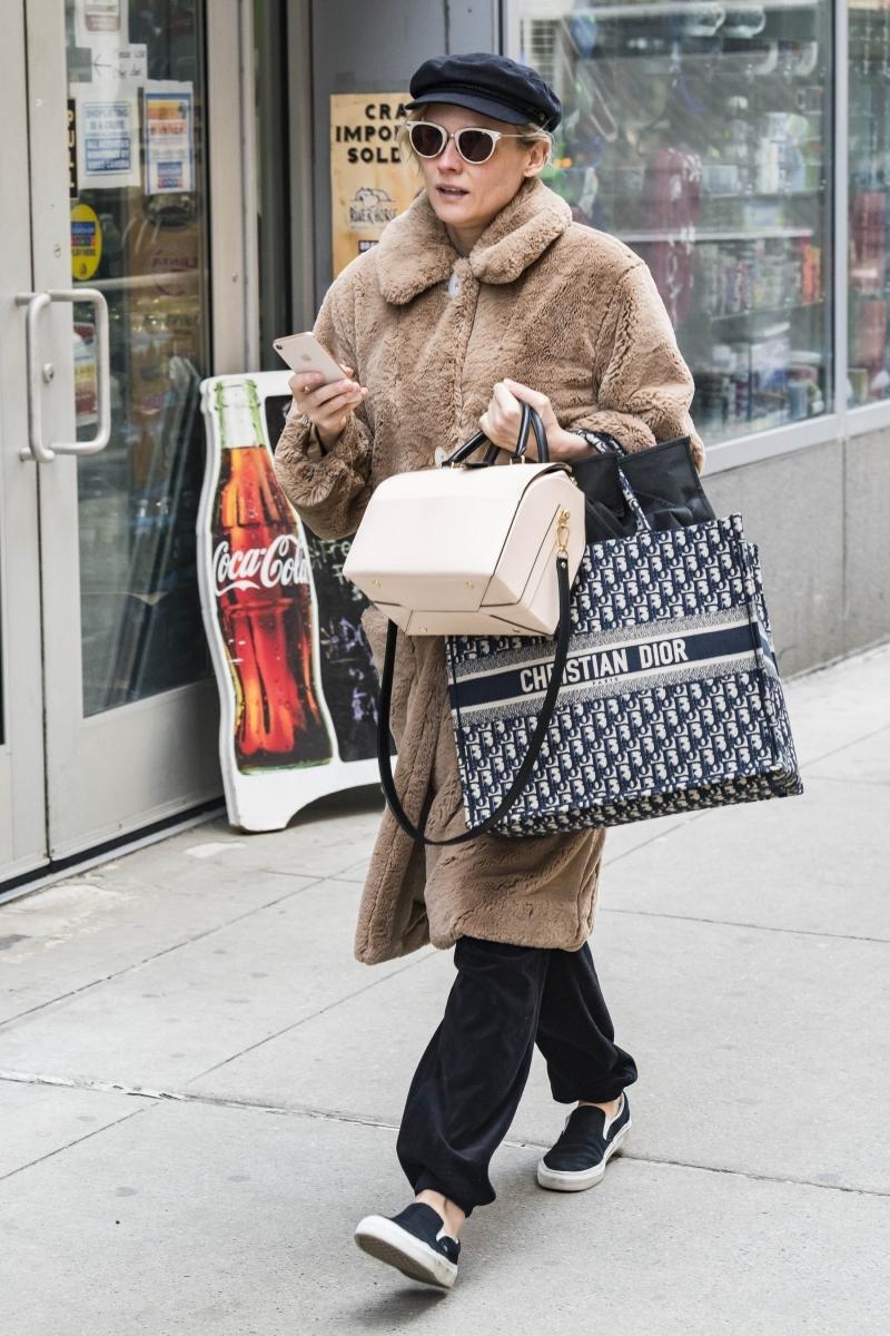 Diễn viên Diane Kruger cũng sở hữu túi Dior Book Tote với họa tiết Oblique.