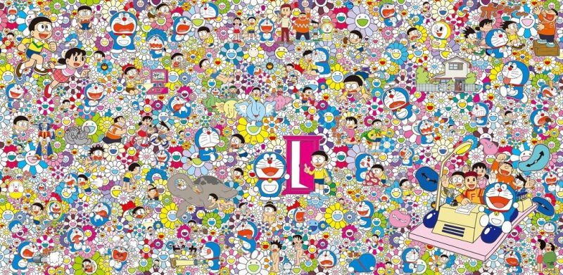 """Tác phẩm nghệ thuật """" """" của nghệ sĩ Takashi Murakami sử dụng những họa tiết bông hoa mặt cười quen thuộc của ông với hình vẽ những nhân vật trong bộ truyện tranh, hoạt hình nổi tiếng """"Doraemon""""."""
