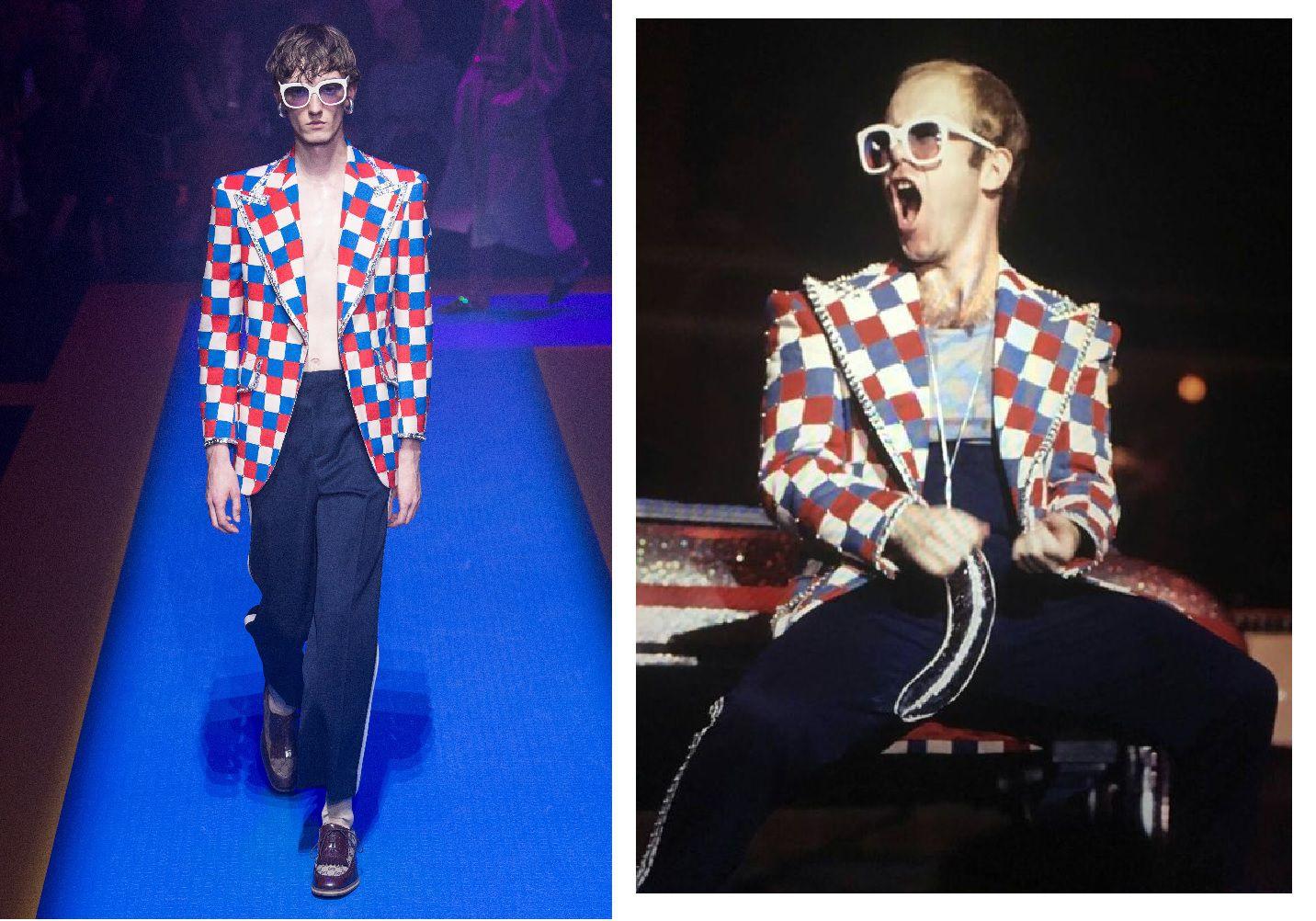 Thiết kế được lấy cảm hứng từ trang phục trình diễn của Sir Elton John, cũng là nguồn cảm hứng chính xuyên suốt cả BST Xuân Hè 2018 của Gucci.