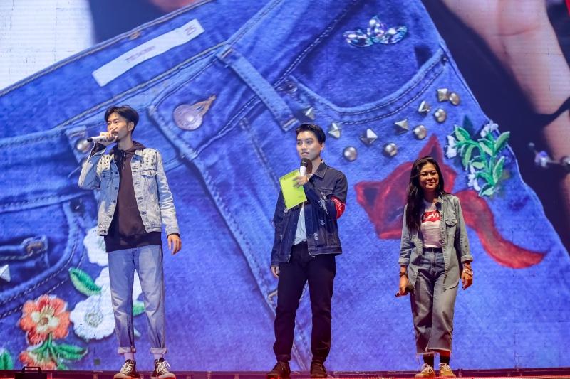Sự kiện còn có sự tham gia của rapper Đen Vâu (trái) và Linh Cáo (phải) cùng MC Ngọc Trai (giữa).