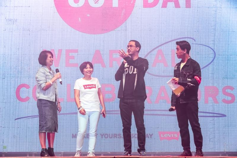 Ông Louis Nguyễn - Đại diện công ty ACFC phân phối thương hiệu Levi's tại Việt Nam - phát biểu trong đêm nhạc hội.