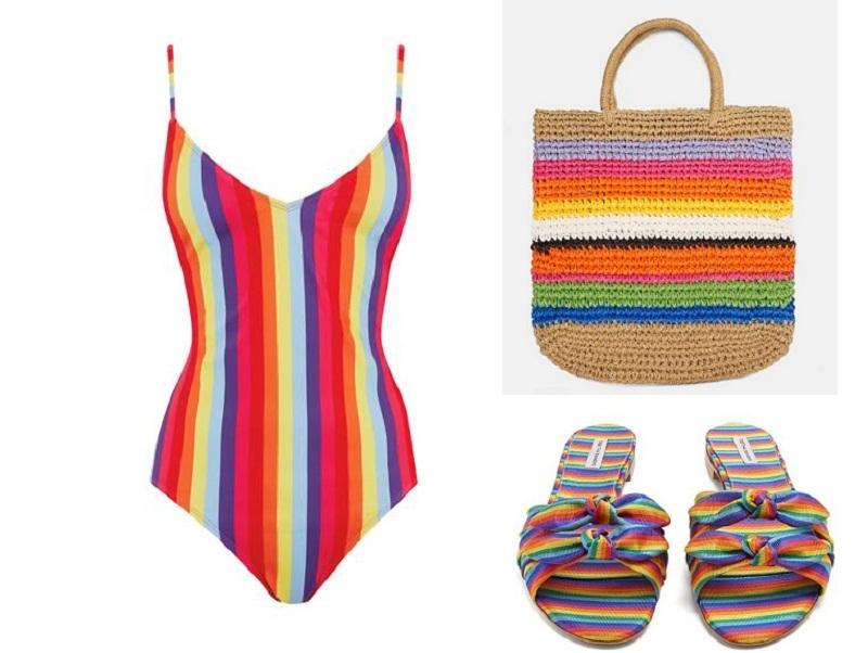 Combo dạo biển tuyệt đẹp với áo bơi cầu vồng cùng túi vải Zara, dép đi biển Tabitha Simmons.