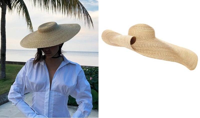 Chiếc mũ rơm quá khổ của Jacquemus (phải) tạo thành xu hướng cực hot cho thời trang đi biển mùa hè năm nay.