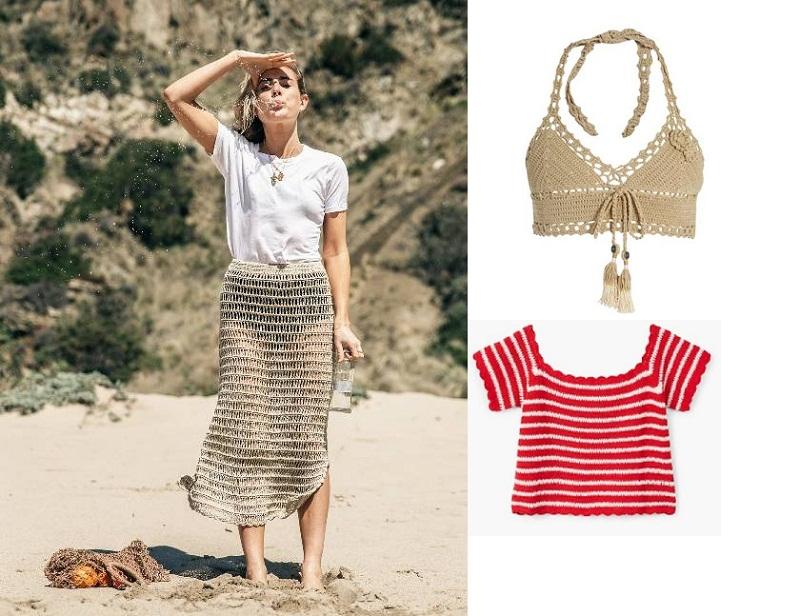 Mọi trang phục, phụ kiện đan móc đều khiến bạn trở nên thời thượng trên bãi biển.