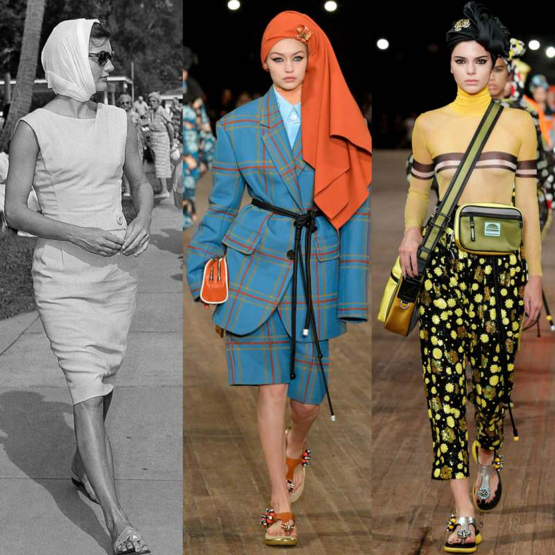 """""""60s sandals"""" với biến tấu phần đế dày hơn được thương hiệu Marc Jacobs lăng xê trong tuần lễ thời trang New York 2018."""