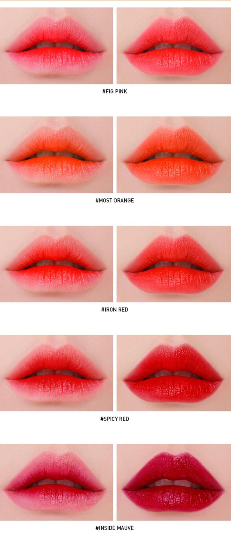 Bộ sưu tập gồm 5 tông màu son dịch chuyển dần từ cam sang đỏ. Với chất son tint này, bạn có thể đánh theo 2 kiểu: chỉ đánh lòng môi nếu muốn có vẻ đẹp tự nhiên và đánh cả môi để tạo hiệu ứng đôi môi đầy đặn, căng mọng.