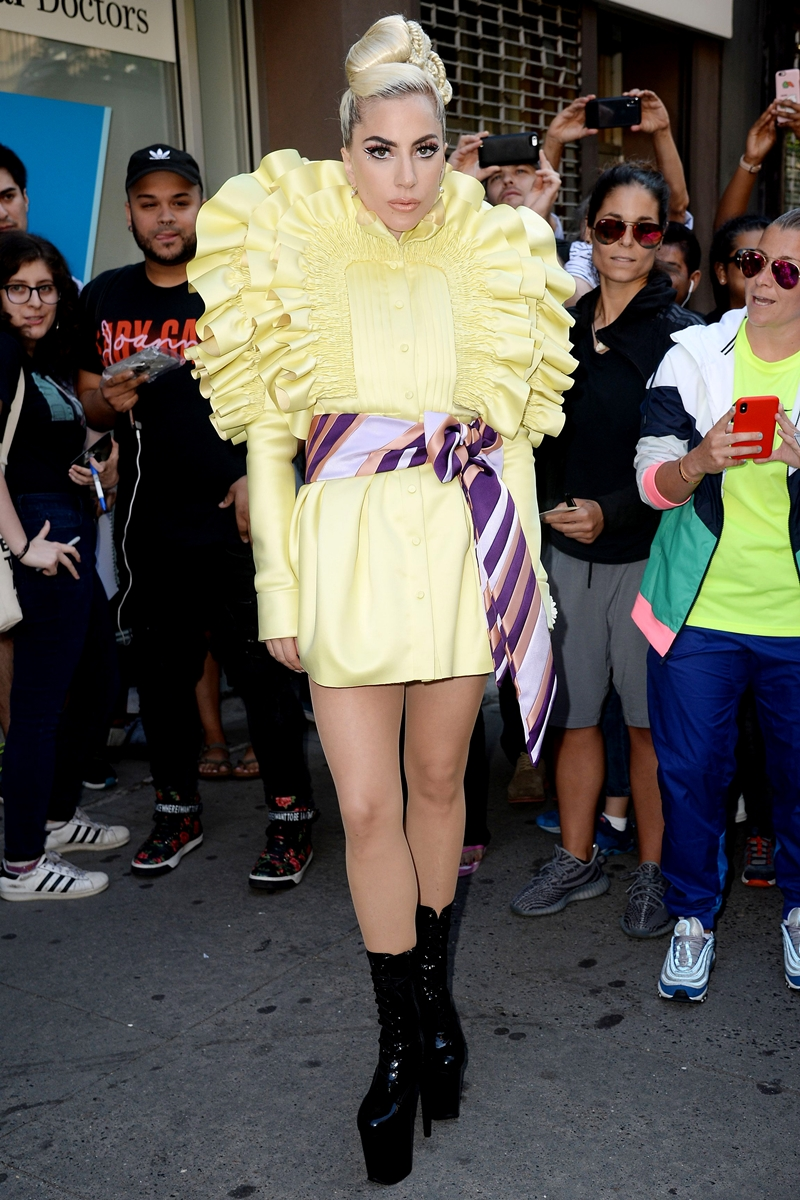 Mandatory Credit: Photo by Kristin Callahan/ACE Pictures/REX/Shutterstock (9697233o) Lady Gaga Lady Gaga out and about NYC, New York, USA - 30 May 2018 WEARING VIKTOR & ROLF SAME OUTFIT AS CATWALK MODEL *9328014a AND BOOTS BY PLEASER USA