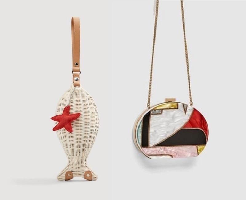 Chiếc túi khảm nhiều màu sắc của Zaza (bên phải) và thiết kế hình con cá độc đáo của Mango (bên trái) là hai ví dụ điển hình cho kiểu túi này.