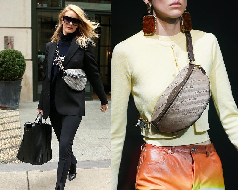 Người đẹp Rosie Huntington Whiteley và mẫu túi ngang ngực trong BST Xuân hè của Balenciaga.