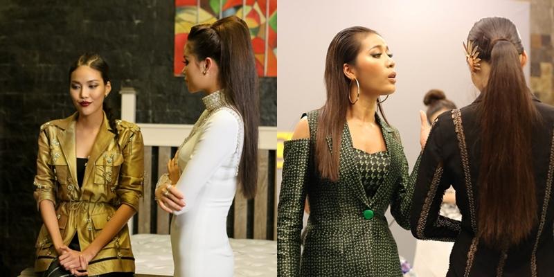 Từ mùa 1 (trái) đến mùa giải thứ 2, Lan Khuê luôn giữ cá tính điềm đạm, nói chuyện từ tốn trong những cuộc tranh cãi.