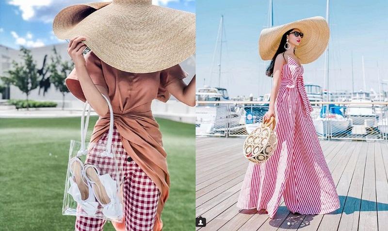 Vẫn là ứng dụng từ công sở ngày hè đến ngay buổi hẹn hò, stylist Holly (@petiteflowerpresents) có màn kết hợp ăn ý chiếc mũ ấn tượng của NTK tài hoa người Pháp với họa tiết kẻ sọc.
