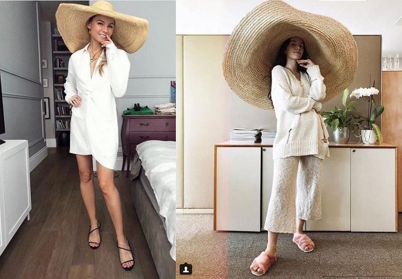Blogger, stylist Katya Gousset (bên phải) lại thể hiện sự phóng khoáng khi phối chiếc mũ vành cực rộng này với trang phục trang phục casual.