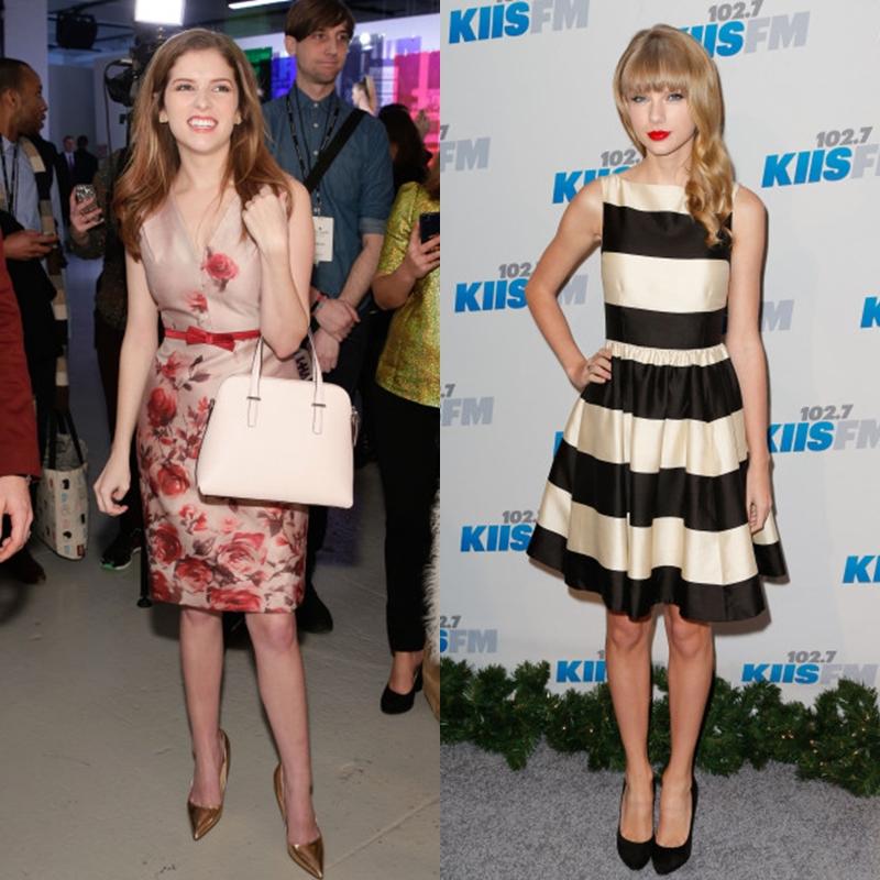 Các thiết kế của kate spade new york khắc họa hình ảnh cô gái trẻ trung, tươi vui và lạc quan. (trái: Anna Kendrick, phải: Taylor Swift)