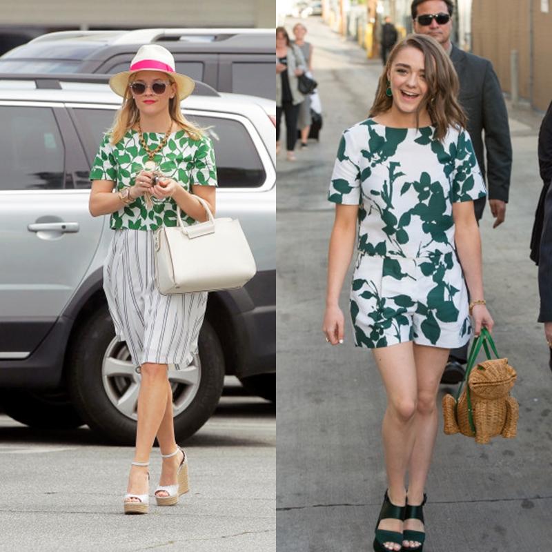 Màu sắc tươi tắn, kiểu dáng sáng tạo là điểm nhận dạng các thiết kế của kate spade new york. (trái: Reese Witherspoon mặc áo kate spade new york; phải: Maisie Williams mặc đầm và túi xách của kate spade new york)