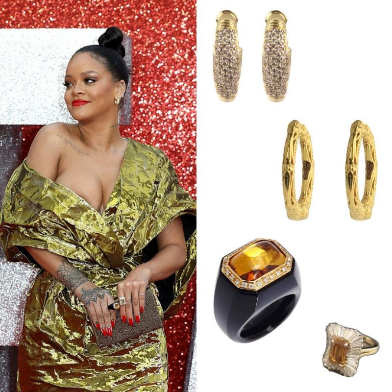 Những món trang sức đắt giá cũng được lựa chọn cẩn thận cùng tông vàng với bộ trang phục của Rihanna. (Từ trên xuống: khuyên tai đính kim cương của Konstatino giá 5.600 đô la - khoảng gần 130 triệu đồng; khuyên tai trơn Konstatino giá 1.600 đô la - khoảng 37 triệu đồng; nhẫn đá mã não đen và thạch anh vàng của Eleuteri; nhẫn kim cương Harry Kotlar)